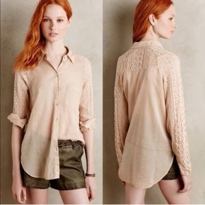 Anthro Holding Horses Lace Sleeve Button Down